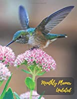 Monthly Planner Undated: Humming bird and the pink flower.Undated Monthly Planner with to do list and personal expense tracker.Two-year(24+1 month)A Blank Calendar with no date for plan your life,work,study,school,home,family.