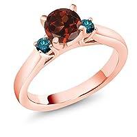 Gem Stone King 1.2カラット 天然 ガーネット 天然 ブルーダイヤモンド シルバー925 ピンクゴールドコーティング 指輪 リング