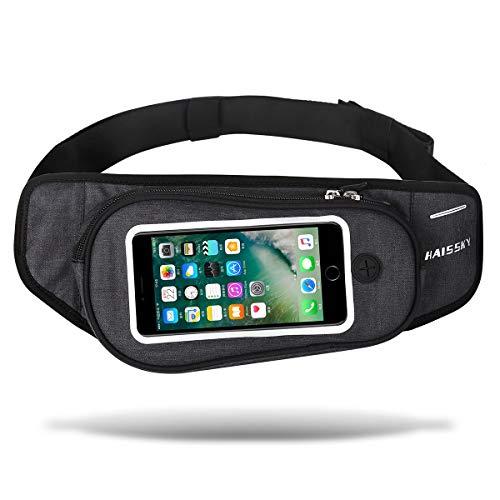 ウエストポーチ 大容量アウトドア&スポーツ用 3way ウエストバッグ タッチスクリーン操作可能 ショルダーバッグ ジョギング ランニング 旅行 登山 散歩 ウエストバッグ iPhone Galaxy Sony等の大画面スマートフォン収納可能防水バッグ(ブラック)