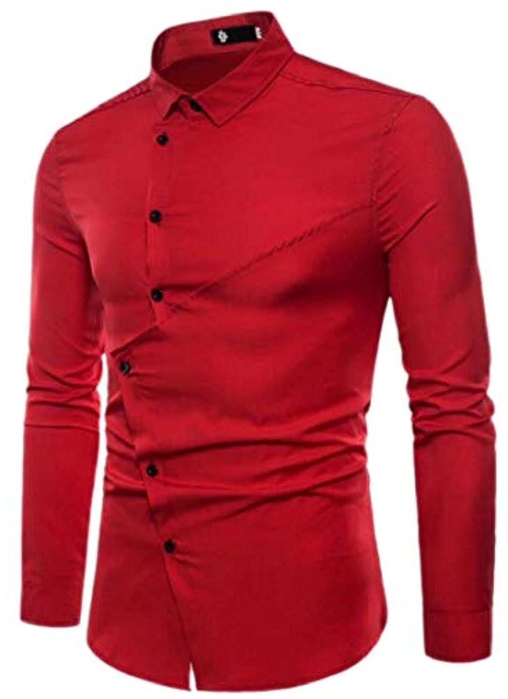 Fly Year-JP メンズ不規則裾斜めボタンロングスリーブドレスシャツ