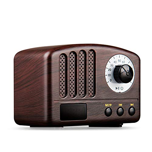 BESROY ミニ レトロ Bluetoothスピーカー FMラジオ機能付き 18650可充電電池 usb充電 AUX機能 iPhone & Android対応 木目調