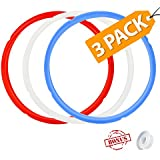 House Again 3 Pack Silicone Sealing Ring with Bonused Sealer - Instapot Silicone Seal Ring - Color Coded with 3 - Perfect Accessory for 5/6 qt Instant Pot (8 Qt avalible)