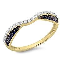 14Kゴールドブルーサファイア&ホワイトダイヤモンドレディース結婚記念バンドスタッカブルリング1/ 3ct