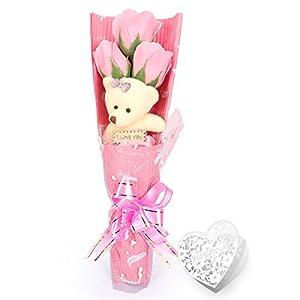 Yobansa 造花 ソープ フラワー プレゼント 枯れない お花 薔薇 花束 かわいいクマ 石鹸 バラ ブーケ プレゼント 誕生日 結婚 記念日 卒業 入学 出産 お祝い (3 本) (ピンク)