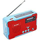 Goofly Multiple Use Solar Powered Or Power Generation by Hand FM AM Radio with 1LED Flashlight USB Emergency Charger Emergency Alarm Camping Supply with TF Card Slot MP3 Player