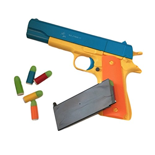 【BAZInGA】ガバメントタイプ 玩具 カラフル トイ ガン おもちゃ 鉄砲 ソフト 弾 ピストル サバゲー (青, M1911)