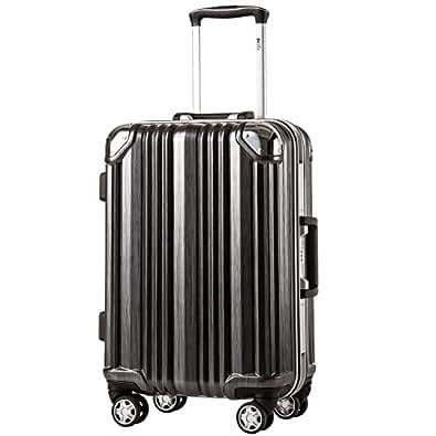 [クールライフ] COOLIFE スーツケース キャリーバッグ100%PCポリカーボネート ダブルキャスター 二年安心保証 機内持込 アルミフレーム人気色 超軽量 TSAローク (M サイズ(24in), black)
