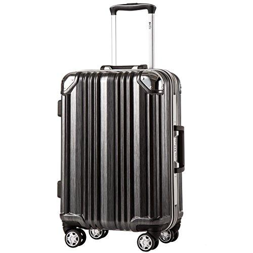 [クールライフ] COOLIFE スーツケース キャリーバッグ100% PCポリカーボネート ダブルキャスター 三年安心保証 機内持込 アルミフレーム人気色 超軽量 TSAローク (M サイズ(24in), black)