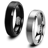 (キングウィル) King Will 6mm ブラック グレー メンズ レディース チタンリング ウェディングリング 快適フィット マットつや消し仕上げ ポリッシュベベルエッジ 2点セット