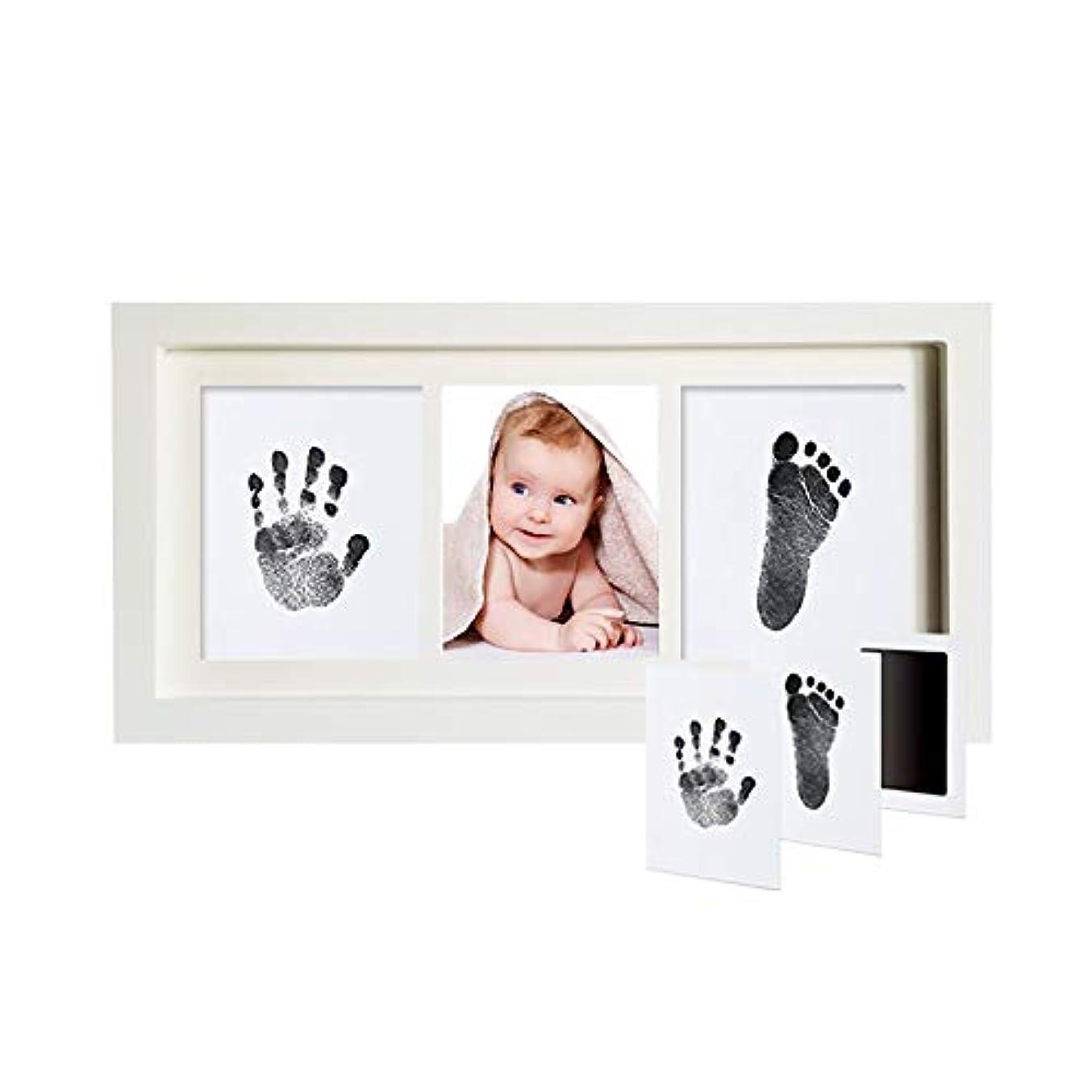ミスペンド極めて普遍的な赤ちゃんの手と足プリント子供ハンドプリントと足のプリント使い捨てウォッシュ油との接触により、皮膚の必要はありません 記念フレーム (Color : White, Size : 35X18x2cm)