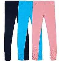 Girls Legging 3Pcs Pack - Bienzoe Knit Cotton Stretch School Uniform Lace Legging