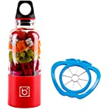 Portable Juicer Cup + Cutting Fruit Slicer - USB Rechargeable, 500ml, Electric Blender - Blend Fruits, Vegetables, Baby Foods - for Home, Travel, Outdoor Sport Plastic Red, by LC Prime