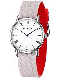男性と女性のための女性の透明なクリームのシリコーンゴムバンドカジュアルシンプルなクオーツカラフルな時計