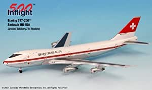 Swissair HB-IGA 747-200 Airplane Miniature Model Metal Die-Cast 1:500 Part# A015-IF5742009 by Genesis Worlwide [並行輸入品]