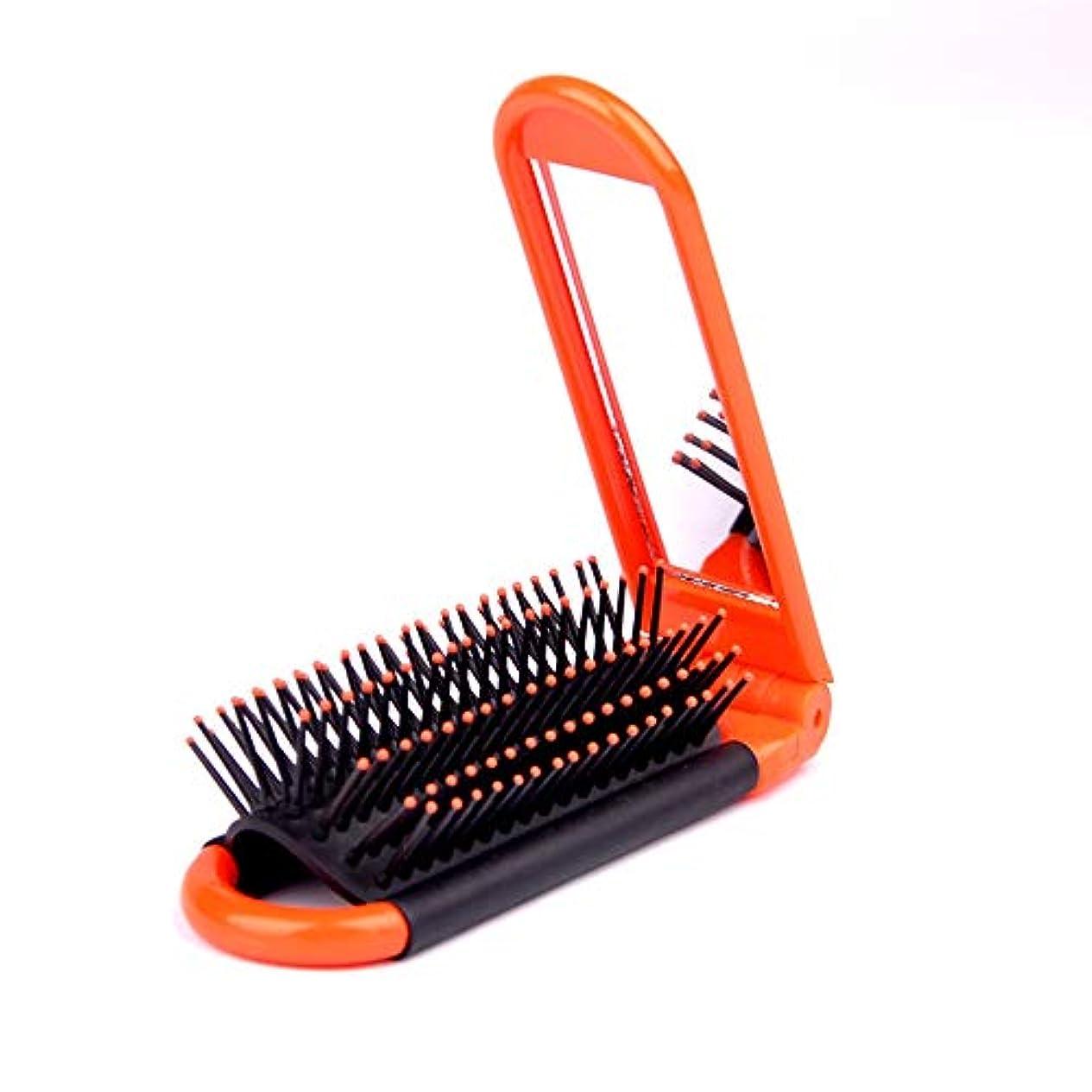 ネット杭手荷物ヘアーコーム ポータブル折り畳み式ミラー櫛プラスチック櫛ラウンド小さな曲線の歯男性&女性のための 理髪の櫛 (色 : オレンジ)