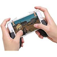 荒野行動 スマホコントローラー,Y-BEST ゲームパッド 七代目改良版 透明デザイン 高敏感度 コントローラーハンドル スマホ用 高速射撃用 押しボタン式 iPhone/Android対応 二種類セット 七代目改良版+グリップ