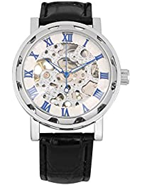 Bienna 腕時計 レザーバンド アンティーク風 スケルトン 機械式 手巻き アナログ表示 ローマ数字 クラシック メンズ レディース 兼用(銀+青+白)