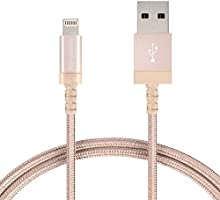 AmazonBasics Nylon Braided USB A to Lightning Compatible Cable - Apple MFi Certified - Gold (6 Feet/1.8 Meter)