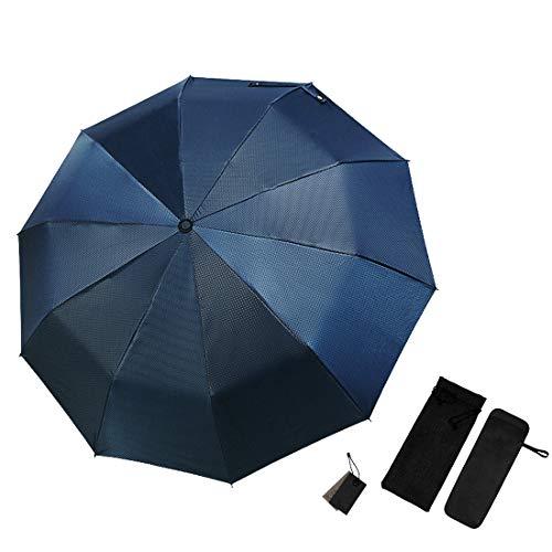 傘 折りたたみ傘 ワンタッチ自動開閉 軽量 大きい 118CM 10本骨 210T 特殊コーティング 晴雨兼用 耐風撥水 台風対策 ブルーチェック