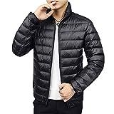 ダウンジャケット メンズ 防寒 軽量 立ち襟 上等 高級 ダウン90% コート メンズ ダウンコート 秋服 冬服 black L