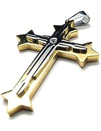 MENDINOジュエリーメンズゴールドステンレススチールペンダントチェーンネックレス十字架クロスでベルベットバッグ