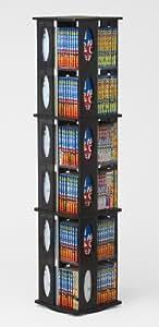 回転式CD/DVDタワー ブラック(黒)大容量 CD最大456枚収納可能 132cm高 コミッ文庫本もOK