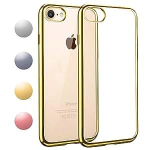 iPhone7 / iPhone8 ケース TPU 【COOLOO】透明 ソフト クリア メッキ加工 耐衝撃 最軽量 超薄型 一体型 人気 オシャレ 4.7インチ アイフォン 7 用 (ゴールド)
