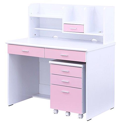 シンプルデザインで機能的なコンパクトデスク 学習机 LOOK4 (ホワイト&ピンク)