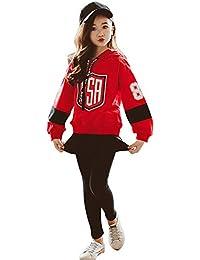 ae06851b3c6fc8 Burning Go 子供服 スウェット トレーナ 女の子 パーカー パンツ フード付き 長袖 プリント ヒップホップ ジュニア