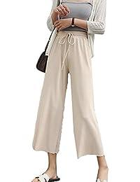 (ニカ) レディース ワイドパンツ 夏 無地 ウエスト パンツ ゆったり 薄手 軽量シフォン パンツ