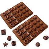Webake 2 Pack Silicone Chocolate Molds 24 Cavity, Hard Candy Mold Tray for Keto Fat Bomb and Jello