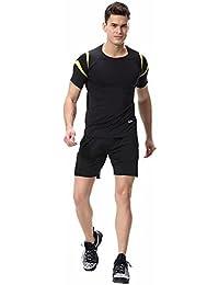 Kayiyasuジャージ上下セット メンズ Tシャツ トレーニングウエア ジム 半袖 吸汗速乾 008-sgt-l02 (M 1654イエロー)