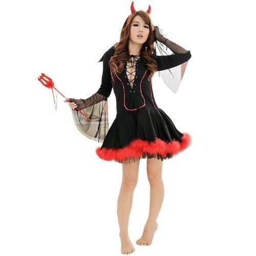 デビル 小悪魔 衣装豪華3点セット コスチューム レディース フリーサイズ