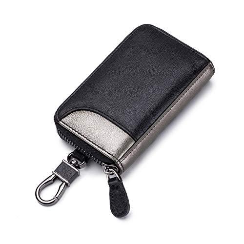 キーケース メンズ カードキーケース レザー スマートキーケース 車キーケース 本革 6連 2つ外側ポケット カード入れ カラビナ付き 大容量 (ブラック×鉛グレー)