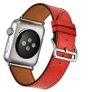 [アイ・エス・ピー]isp Apple WATCH IWATCH アップルウォッチ バンド 高級 レザー 交換 ベルト 上品 ビジネス用 シンプル (38MM, レッド)