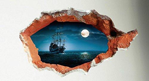 【生活向上の家】 3D 風 ウォールステッカー 壁紙 絵画 ( 壁穴から覗く 月夜 と 海賊船 ) お家の壁を素敵にイメージチェンジ