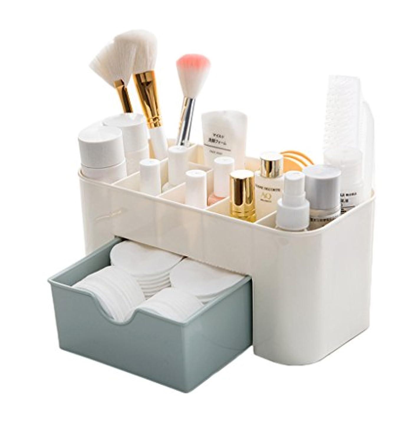 代数的等々最大のZUOMAメークボックス 化粧品収納ボックス コスメスタンド 引き出し式 メークケース 小物/化粧品入れ コスメ収納 透明アクリル 大容量 (ブルー, 22*10*10.3CM)