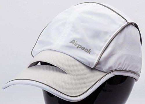 Airpeak Speed(エアピーク スピード)/フリーサイズ(54-60cm)/横ロゴ/ランニング・テニス向け (ホワイト)