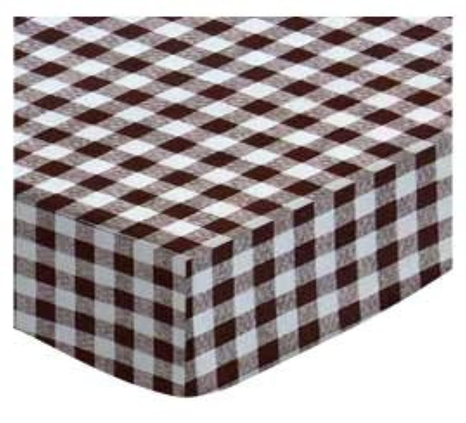 SheetWorld Fitted Cradle Sheet - Brown Gingham Check - Made In USA by sheetworld