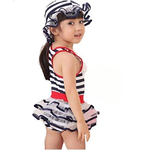 (ドリームスタジオ)DreamStudioラメ入りフリフリスカートコサージュ子供女の子水着ボーダー柄2点セット帽子各サイズ(100,ネイビー)