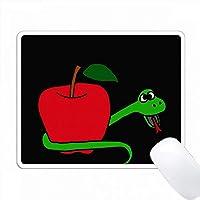 楽しい緑の蛇が明るい赤いリンゴのまわりで包まれた PC Mouse Pad パソコン マウスパッド