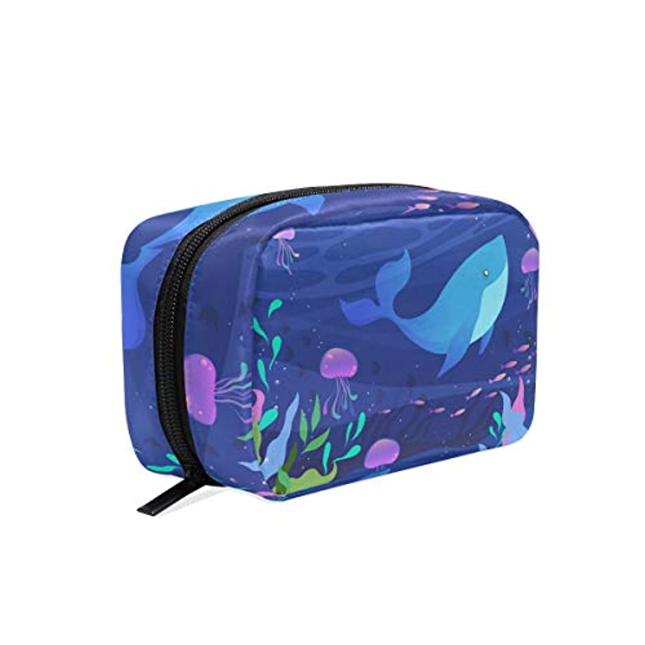 見出しクリーム聖人化粧品ポーチ クジラ 海洋 かわいい 仕切り付き 大容量 機能性 軽量 人気 収納バッグ  レディース トラベル 雑貨 小物入れ 防水 ストレージポーチ 携帯便利 日用品 旅行 出張用 メイクポーチ