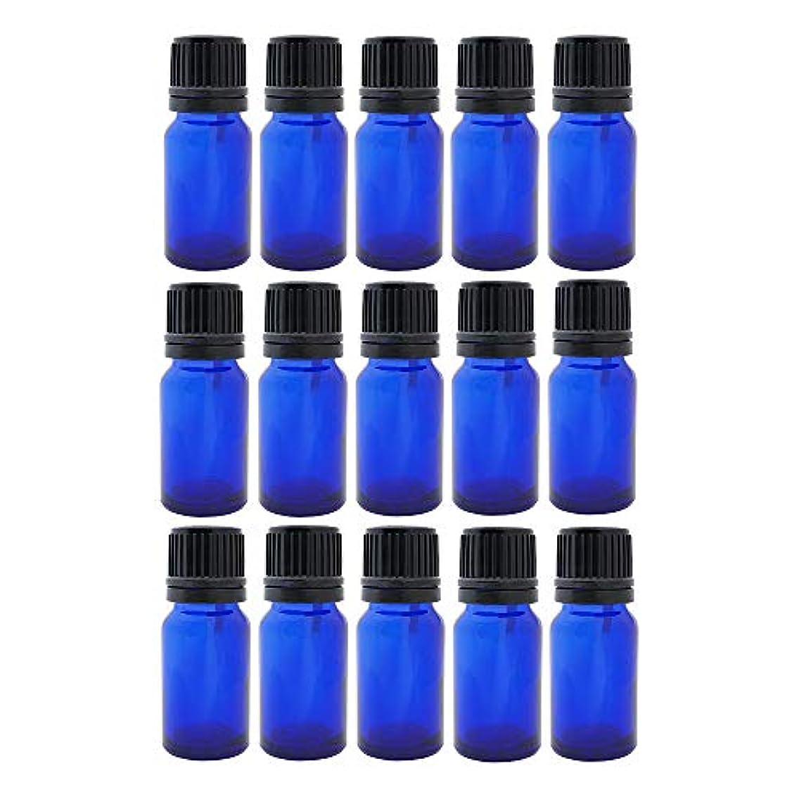 予言する類推起きて遮光ビン 10ml 瓶 15本セット ブルー(ドロッパー キャップ付)