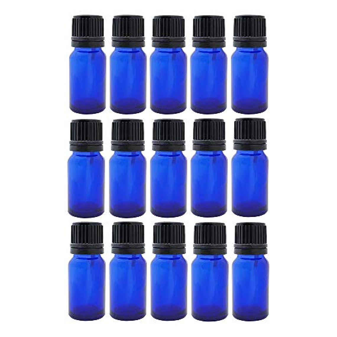 リンスジェムプロット遮光ビン 10ml 瓶 15本セット ブルー(ドロッパー キャップ付)