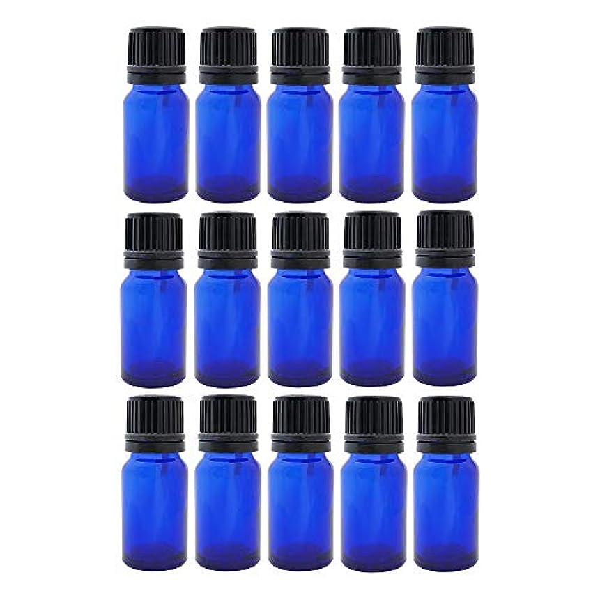 オッズ不条理居眠りする遮光ビン 10ml 瓶 15本セット ブルー(ドロッパー キャップ付)