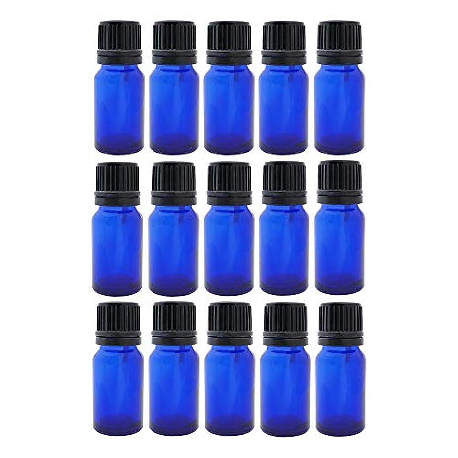 ウイルス承認分離遮光ビン 10ml 瓶 15本セット ブルー(ドロッパー キャップ付)