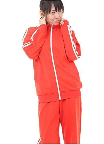 Aoakua カラージャージ 上下セット 2本ライン スポーツウェア ユニセックス 全7色 M/L/LL (レッド, L)