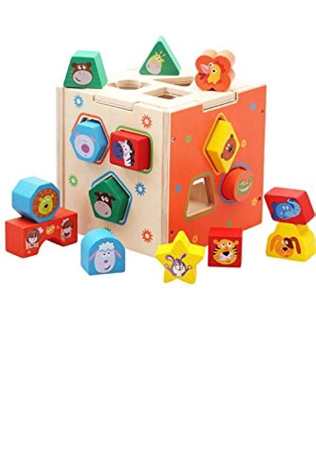 亜熱帯酸化物粘液yasushoji 木のおもちゃ 知育玩具 図形 パズル 形はめ ブロック 積み木 車 幼児 プレゼント お祝い (アニマル/15穴)