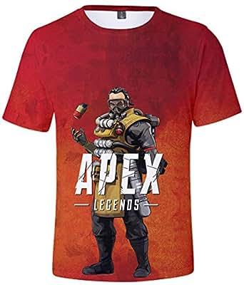Pandolah メンズ シャツ カットソー スウェット 3Dプリント ゲームロゴ APEX LEGENDS エーペックスレジェンズ キャラクター 半袖 (XXS、コースティック)