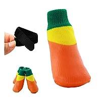 HENGXIANG 犬の靴、防水ノンスリップシューズ、テディ、フットカバー、犬の靴、アンチ - グラブ、ゴールデンヘア、ソックスシューズ、大犬のペット、靴と靴下 (Color : Orange, Size : 4#(5*6)cm)